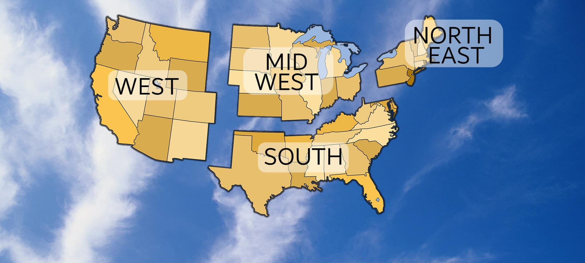 Map of the United States broken into regions on a blue blackground